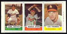 1962 Bazooka Baseball Complete 3-card Panel with Warren Spahn. Full Borders