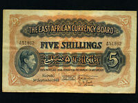 East Africa:P-28,5 Shillings,1943 * King George VI *