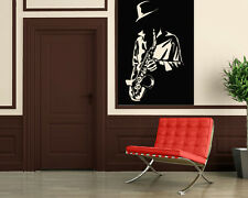 Wall Stickers Vinyl Decal Music Blues Jazz Musician Saxophone Sound Hat ig176