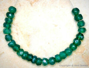 """Green Onyx 4-5mm Faceted Rondelle Gemstone Beads 3.5"""" Strand"""
