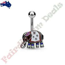 316L Surgical Steel Antique Silver Belly Ring with Enamel Coloured Elephant