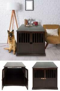Extra Large Dog Crate Espresso End Table Pet Wood Kennel XL Cage Furniture House