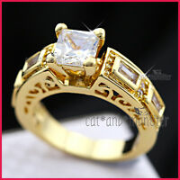 9K YELLOW GOLD GF WOMEN 2CT ANTIQUE FILIGREE SQUARE CRYSTAL DERSS BAND RING GIFT
