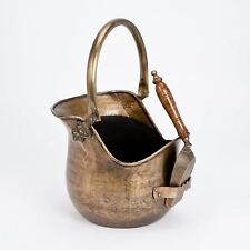 ANTIQUE VINTAGE BRASS COPPER COAL BUCKET FIRESIDE SCUTTLE WITH SHOVEL NEW