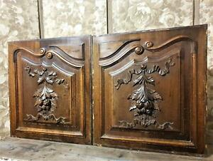 Solid ribbon fruit decorative carving panel Antique french architectural salvage