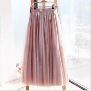NEW Girls 4 Layer Long Tulle Skirt Summer Ball Party Pleated Tulle Skirts Skirts