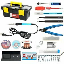 110V 60W Adjustable Temperature Soldering Iron Kit Electronics 19 in 1