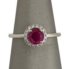 Ladies 14K White Gold Round Natural Ruby Diamond Halo Engagement Ring