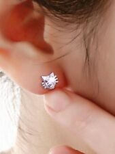 CRYSTAL CAT ELF STUDS LADIES EARRINGS 925 SILVER