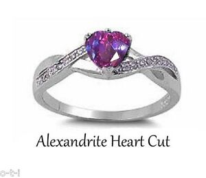 Alexandrite Birthstone Fire Heart Cut Infinity Celtic Silver Ring Size 3 - 12
