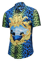 Mens Luxury Leopard Print Golden Flower Baroque Short Sleeve Casual Shirts Tops