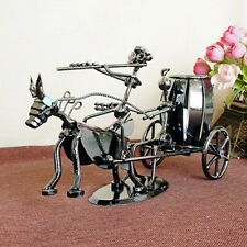 """Large Recycled Metal Art Hand made Pen Holder farm horse figurines 11.8*5.9*3.9"""""""