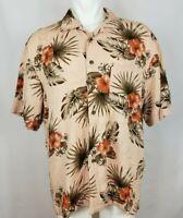 "La Cabana ""All Night Long"" Men's Size XL Pink Shirt Hawaiian Floral SS BF"