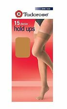 3, 6, 12 Pairs Tudorose 15 Denier Hold Up, One Size, Non Silicone Top 5 Shades