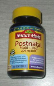 NATURE MADE Postnatal Multi + DHA 200 mg 60 Count Softgels EXP JUL 2022 *NEW*