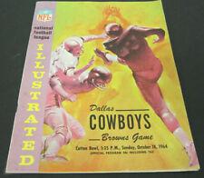1964 Illustrated Cleveland Browns vs Dallas Cowboys NFL Football Program Oct 18