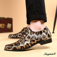 Mens Formal Leopard Print Stylish Dress Oxford Party Wedding Casual Shoes US10
