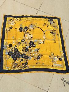 "Superbe et ancien foulard fleuri ""CHRISTIAN DIOR"" vintage soie TBE silk scarf"
