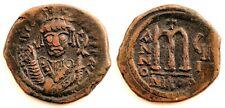 Imperio Bizantino-Tiberio II Constantino. Follis Nicomedia. Cobre 12,1 g. Escasa
