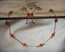 ART DECO Dainty AMBER CRYSTAL BEADS TWISTED ROLLED GOLD VINTAGE NECKLACE