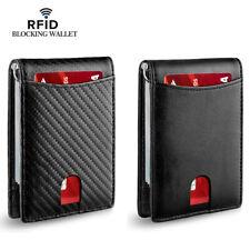 Men's Genuine Leather Slim Billfold RFID Blocking Card Holder Money Clip Wallet