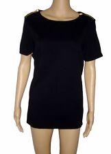 Michael Kors Basics Womens 2 Front Shoulder Zipper Top T Shirt Med Black NWT $69