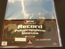 "20 loose BCW Vinyl / Record Storage Sleeves 12"" LP Album Plastic Covers"