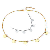 Round Choker Necklace Link Chain Party Small Circle Charm for Women Fashion Y9K1