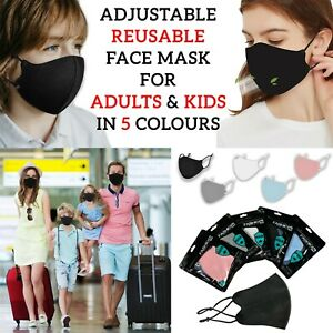 ADULT KIDS ADJUSTABLE Face Mask Washable UK Reusable Protection Shield Cover