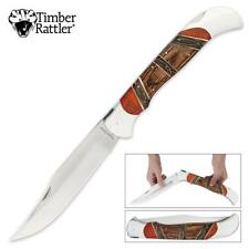 Giant Knife! Huge Timber Rattler Bone Inlaid Lock Back Folder - BIG MONSTER!