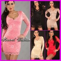 WOMEN PARTY LACE SEXY DRESS 8 10 12 EVENING COCKTAIL SHORT BODYCON MINI AU S M L