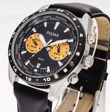 Pulsar by Seiko Herrenuhr PY7015X1 Lederband Dualtime Datum Analoguhr Armbanduhr