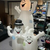 RARE Airblown Inflatable Halloween 8' 3 Goofy Ghost Trio Light Blow Up With Box