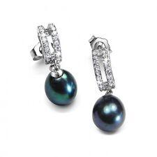 Black Pearl Earrings Sterling Silver Jewellery