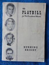 Burning Bright - Broadhurst Theatre Playbill - October 23rd, 1950 - Bel Geddes