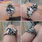 Fashion 925 Silver Plated Cute Frog Animal Blue Sapphire Jewelry Ring Size 6-10