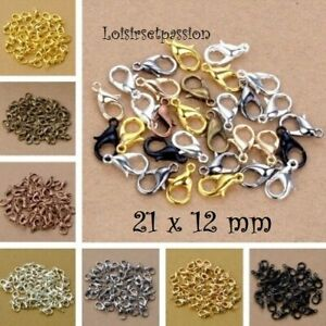 LOT (10 à 25 pcs) FERMOIRS MOUSQUETONS, 21 x 12 mm, sans plomb Bijoux bracelet