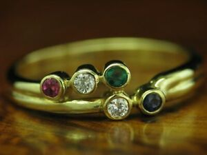 8kt 333 Yellow Gold Ring With Sapphire,Emerald,Ruby & Zirconia Trim/ 2,5g/ RG56