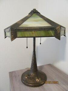 RARE Antique APOLLO STUDIOS Tree Trunk Copper Lamp Base SLAG GLASS Arts & Crafts