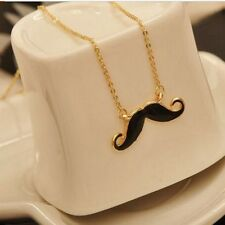 Black Fashion Womens Bib Mustache Statement Chain Jewelry Pendant Necklace