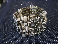 Wonderful elasticated panel bracelet with white stone decoration