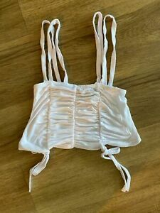 PrettyLittleThing White Crop Top Ruched Bust Strappy Size 6