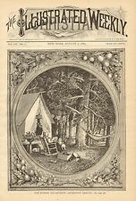 Summer Encampment - Afternoon Leisure, Camping, Vintage 1884 Antique Art Print