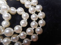 8mm Flawless Faux White Pearl Endless Strand NECKLACE Vintage Unused Old Knotted
