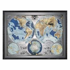 Vintage Style World Map Mirror Wall Art | Blue Brown Globe Antique Artwork