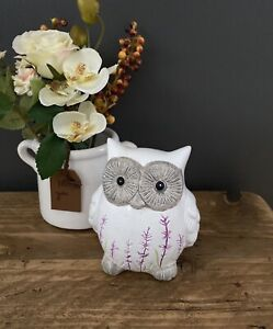 13cm White Terracotta Owl Ornament Figurine Handpainted Lavender Home Decor Gift