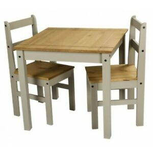 Corona Dining Table & 2 Chairs Grey Wax Rio Solid Pine Mercers Furniture®