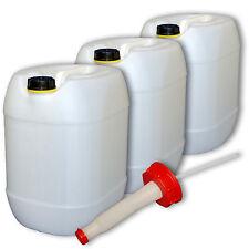 3er Set Campingkanister Wasserbehälter natur 30 Liter  Deckel Ausgießer flexibel