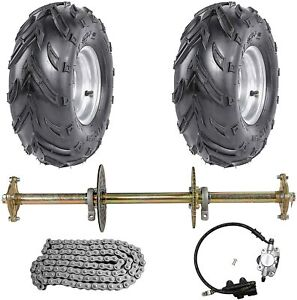 "810mm Rear Axle Complete Kit + Brake Assembly + 7"" Wheels Tyre Go kart ATV Buggy"