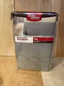 Better Homes and Gardens Chain Stitch King BEDSKIRT Grey NOS
